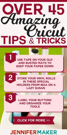 Learn Cricut tips and tricks to make the most of your cutting machine! These tips are great for #Cricut beginners. 45 tips and tricks for cricut explore air and cricut maker beginners | cutting machine | how to start using the cricut explore air and maker
