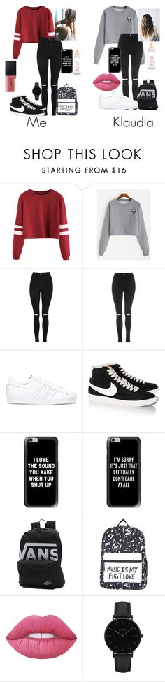 """Best friends"" by skateisbae ❤ liked on Polyvore featuring Topshop, adidas, NIKE, Casetify, Vans, Lime Crime and CLUSE"