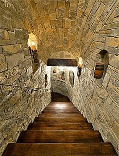 Tunnel-like staircase down to Wine Cellar