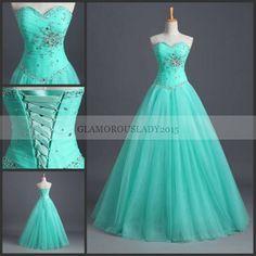 Mint Verde Prom Vestidos Longos vestido de Baile 2015 Para Ocasião Formal Querida Mangas Beading Tulle Em Estoque Vestido de Festa