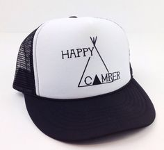 Happy Camper Trucker Hat Snapback Youth to Women's Cap Summer Camping