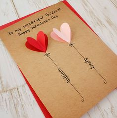 Personalised Valentine's Day Card – Valentinstag Valentines Design, Valentine Crafts, Valentine Day Cards, Homemade Valentines Day Cards, Birthday Cards For Boyfriend, Diy Gifts For Boyfriend, Boyfriend Messages, Diy Cards For Girlfriend, Scrapbook Ideas For Boyfriend