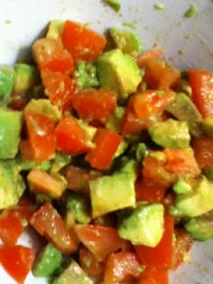Avocado/Tomato Salsa.. Delicious over grilled chicken with rice... or with grilled chicken in a pita