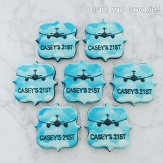 Airplane theme decorated cookies Becoming A Pilot, Mavis, Decorated Cookies, Cookie Decorating, Sugar Cookies, Airplane, Transportation, Passion, Birthday