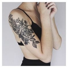 25 Floral Tattoos That Are Pretty Perfect ❤ liked on Polyvore featuring accessories, body art and tattoo's
