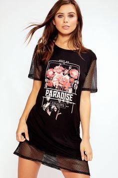 Hayley Black Rose Net Detail T-Shirt Dress Vestidos Sport, Diy Cut Shirts, Oversized T Shirt Dress, Girl Fashion, Fashion Outfits, Clothing Hacks, Aesthetic Clothes, Diy Clothes, Casual Looks