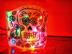 Pink Stripey Socks: DIY Sugar Skull (Day of the Dead) Milk Jug Luminaries