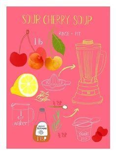 Sour Cherry Soup by claudiagpearson on Etsy - halber TL Stevia statt Zucker, schmeckt wunderbar, Wasser in Eisform zufügen!