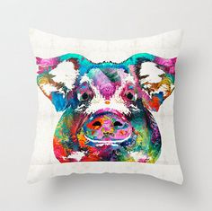 Beautiful colorful pig artsy throw pillow COVER! All images on pillows in my gallery are from my ORIGINAL artwork. All rights reserved.