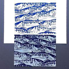 The finished print with inked lino. #linocut #linoprint #printmaking #prints #handmade #artistsoninstagram #im_printed #fish #ocean #mackerel #fishart