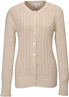 Tri-mountain Women 100% Cotton Long Sleeves Cable Sweater Cardigan. LATTE