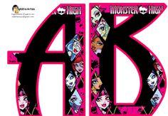 Alfabeto con caras de las Monster High.