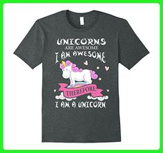 Mens Unicorns Are Awesome I Am Awesome Therefore I Am A Unicorn Medium Dark Heather - Fantasy sci fi shirts (*Amazon Partner-Link)