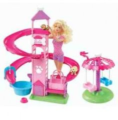Barbie Slide & Spin Pups Playset Mattel Puppies love to play and where better than at the park Barbie and her animal friends will have so much fun with this set Barbie Playsets, Barbie Toys, Barbie Clothes, Doll Toys, Mattel, Barbie Birthday, Barbie Doll House, Dollhouse Dolls, Imaginative Play