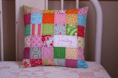 Darling personalized quilted pillow.  I will be making these for my girls.