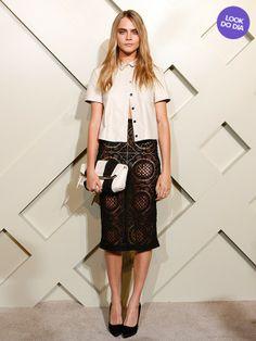 Cara Delevingne  A top participou da abertura da nova loja da Burberry em Xangai, na China, na quinta-feira, 24. A modelo britânica, que desfilou para a grife na Semana de Moda de Londres, ousou com um look da marca: saia com transparência e blusa que ela deixou desabotoada