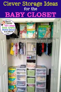 Closet Organization To Declutter The CLUTTER in small spaces like the nursery. / Clever Storage Ideas / for the / Baby Closet Baby Closet Storage, Girls Closet Organization, Baby Room Closet, Baby Nursery Organization, Baby Room Diy, Small Space Organization, Closet Ideas, Organizing Ideas, Organization Hacks