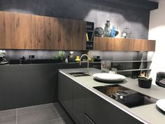 Display kitchen cabinets with gray and brown