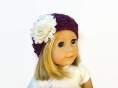 Doll Flower Hat Crochet Knit Purple 18 Doll by PreciousBowtique, $5.00
