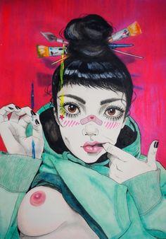 Harumi Hironaka: Queen of Attitude • Beautiful Bizarre Magazine  #beautifulbizarre #beautifulbizarremagazine #artmagazine #newcontemporaryart #contemporaryart #art #painting #portrait #lowbrowart #badass #attitude #bossgirl #strong #figurativeart #nudeart