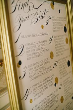 Framed Guest Seating Chart Display  Via Loveyourdaydesignsblog