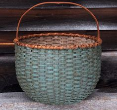 Round Basket with Heart Handle; robins' egg and white interior, 14'' diam. total height 16'' from Black Ash Baskets (to buy; no pattern)