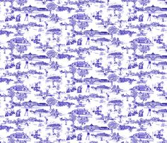 Hamptons Historical Golf Course Toile fabric by mcsparrandesign on Spoonflower - custom fabric