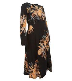 Maternity Black Floral Print Funnel Neck Midi Dress | New Look