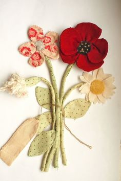 lovely fabric bouquet ... just a photo...no instructions...But Sweet Inspiration...