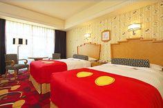 Disney's Ambassador Hotel, at Tokyo Disney Resort. The Mickey Mouse Room. Disneyland Hotel, Disney Hotels, Disney Vacations, Disney Trips, Disney Parks, Themed Hotel Rooms, Theme Hotel, Tokyo Disney Sea, Tokyo Disney Resort