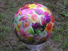 Here's decoupaged ball #3(A). This one was done all in 'large' flowers.