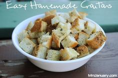 Easy Homemade Croutons via MrsJanuary.com #recipe #DIY
