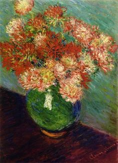 Vase of Chrysanthemums by Claude Monet. Impressionism. flower painting