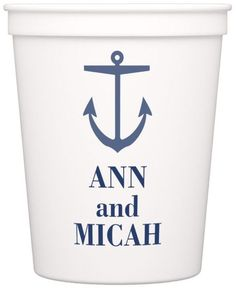 White plastic stadium cups personalized with anchor design and bride and groom's first name for a nautical theme wedding Wedding Cups, Wedding Reception, Nautical Wedding Theme, Personalized Cups, Cup Design, Wedding Designs, Anchor, Plastic, Bride