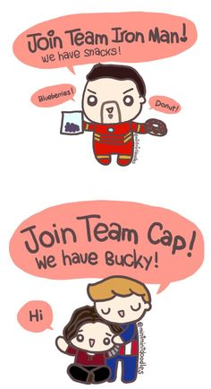 I love Bucky but I want some donuts too!    Individual original posts:  #TeamCap or #TeamIronMan [Doodle Master List]