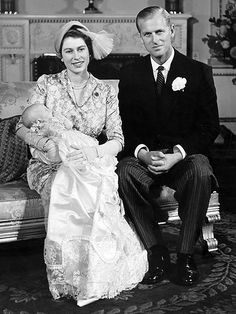 *PRINCESS ANNE photo ~ Two months after her Aug. 15, 1950, birth, the Queen's only daughter and Zara's mum posed for her first photo with Mom and Dad (Prince Philip) at Buckingham Palace after her Oct. 21 christening ceremony.
