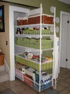 Mini dispensa, storage on sliders would be a perfect solution for my linen closet!