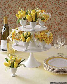 yellow tulip tired flower arrangement easter