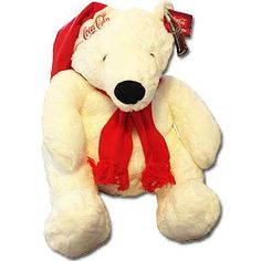 White Plush Coca-Cola Polar Bear with Scarf 24 inches