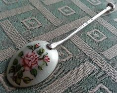 Vintage Enamel Solid silver spoon flower made in English Birmingham tea coffee