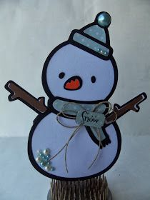 DoubleClick - AKA Abusybee: Snowman Shaped Christmas card! Snow! And Elvis our Elf is back from the North Pole!