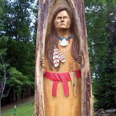 This is a wood carving we recently had done inside a dead tree stump in our yard, our Squaw is just beautiful!