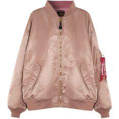 Vetements + Alpha Industries reversible oversized satin bomber jacket (6,990 PEN) ❤ liked on Polyvore featuring outerwear, jackets, vetements, beige bomber jacket, flight jackets, oversized hooded jacket, hooded jacket and satin bomber jackets