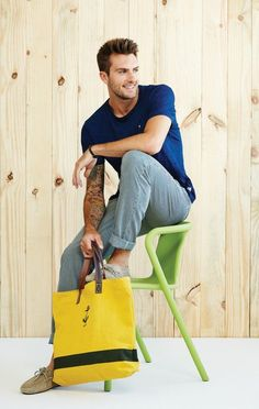 Shop this look for $305: http://lookastic.com/men/looks/navy-crew-neck-t-shirt-and-yellow-tote-and-tan-driving-shoes-and-white-and-blue-chinos/2590 — Navy Crew-neck T-shirt — Yellow Canvas Tote — Tan Suede Driving Shoes — White and Blue Vertical Striped Chinos