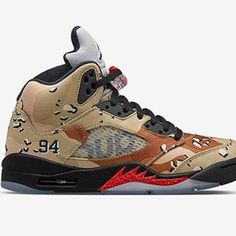 "Air Jordan 5 x Supreme ""Desert Camo"" @nikelab 🇪🇺 Europe drop soon All details on www.sneakersaddict.com (link on bio) #JordanSupreme #AJ5 #NikeLaB #sneakernews #kicksonfire #instasneakers #instagramanet"