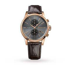 This gents #Hugo #Boss #watch has a PVD rose plating case and is powered by a chronograph quartz movement.