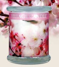 Radiance 13 oz Scented Wooden Wick Jar Candles by Village Candle - CHERRY BLOSSOM Radiance Wooden Wick 13 oz Scented Jar Candle by Village Candles