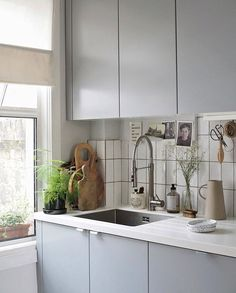 Grey IKEA kitchen - kitchen sink - minimalist kitchen styling
