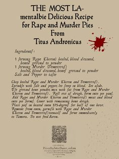 Shakesblogging™: A recipe from Titus Andronicus
