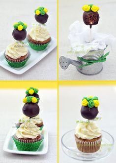 Topiary cupcakes with cakeballs #cake #topiary #garden